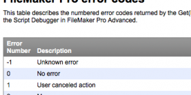 FileMaker Error codes