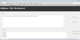 SQL Example screen