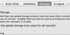 Shows the way to set a Global field in FileMaker