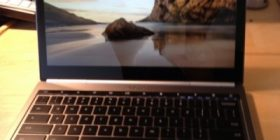 Oen Chromebook with photo on screen