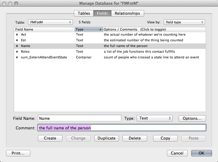 Field comments function in action
