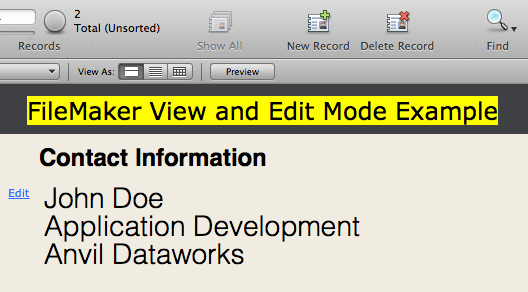 View and Edit Modes in FileMaker