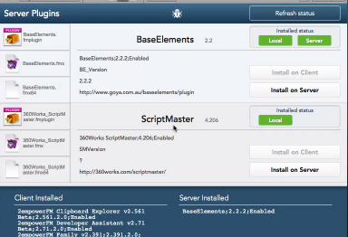 Example of running the Perform Script on Server command