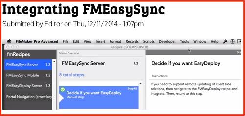 Integrating FMEasySync via FMRecipes