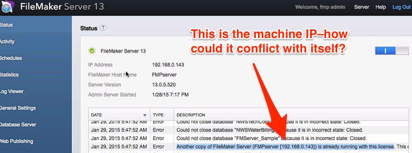 Error code explaining why server is down.