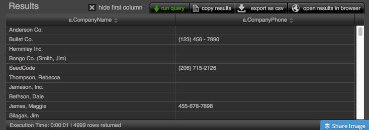 Javascript Portal result screen
