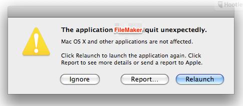 The application Filemaker crashed