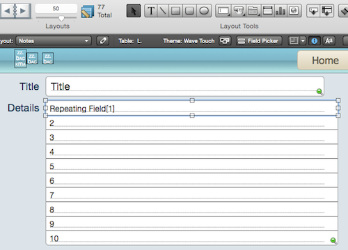 FileMaker repeating field example