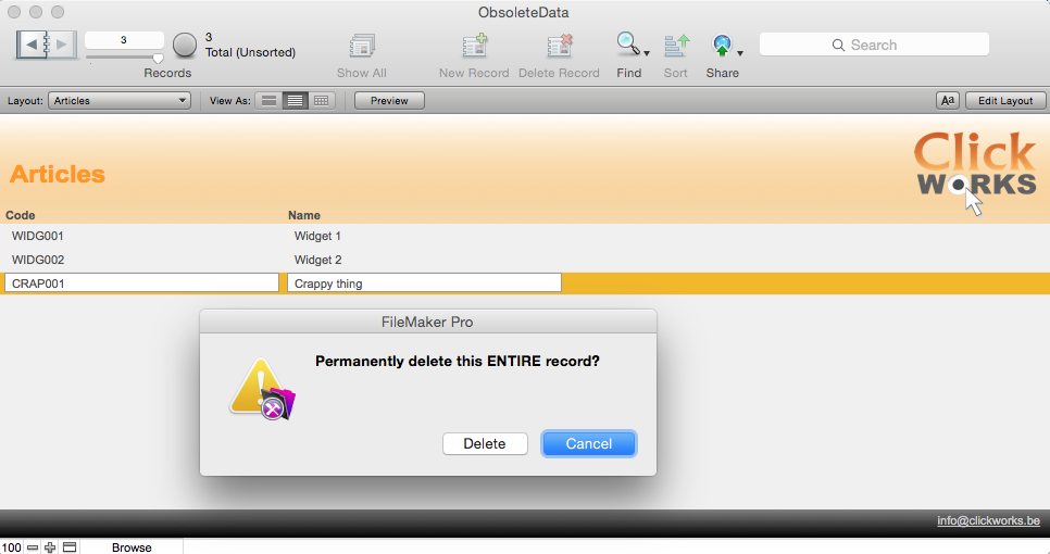 Instantly Restore Deleted FileMaker Records