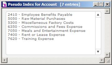 Pseudo Index List Example