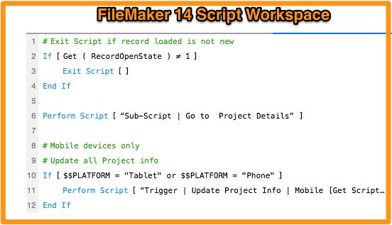 FileMaker Script Workspace