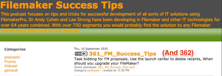 Filemaker Success Tips 361 and 362