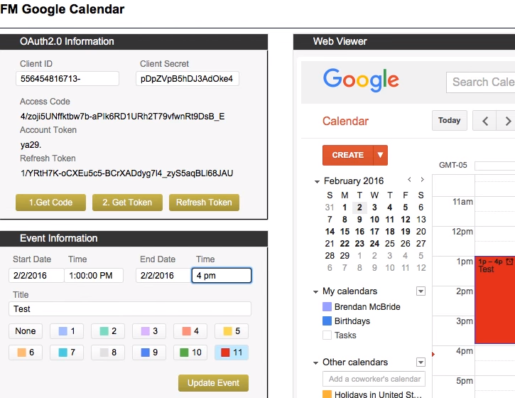 FileMaker Google Calendar Integration