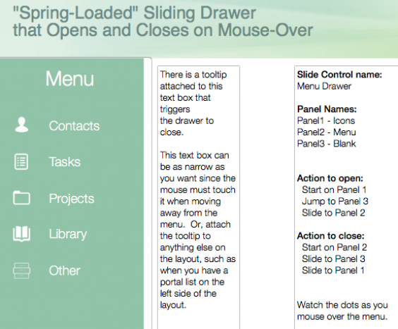 FileMaker Sliding Drawer